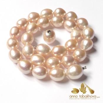 Perles de culture rose, forme olive, en collier Interchangeable, avec fermoir