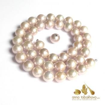 Perles de culture rose argenté en collier Interchangeable avec fermoir