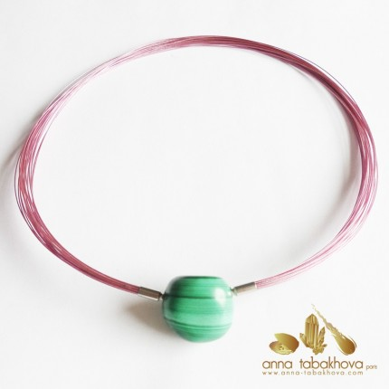 20 PINK nylon coated wires interchangeable necklace with a malachite clasp (sold separatly)