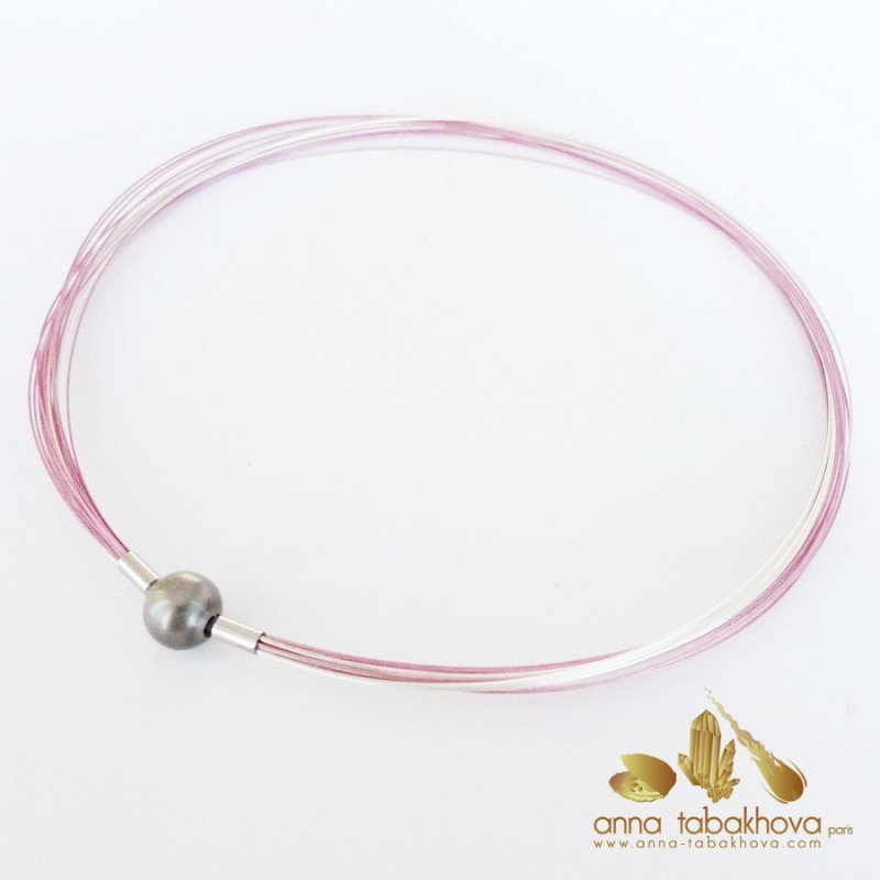 PINK coated nylon and silver plated steel necklace