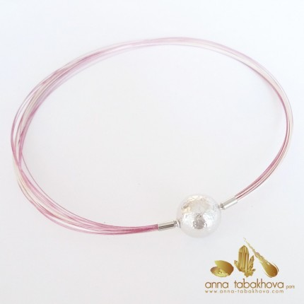 PINK coated nylon and silver plated steel necklace (with a hammered silver clasp sold separatly)