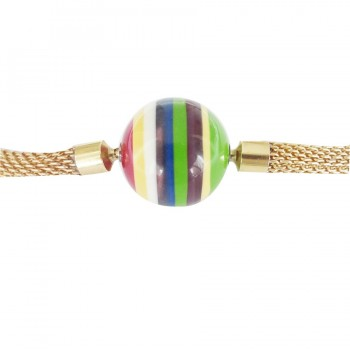 20 mm Striped Colored Resin InterChangeable Clasp with a mesh chain (sold separatly)