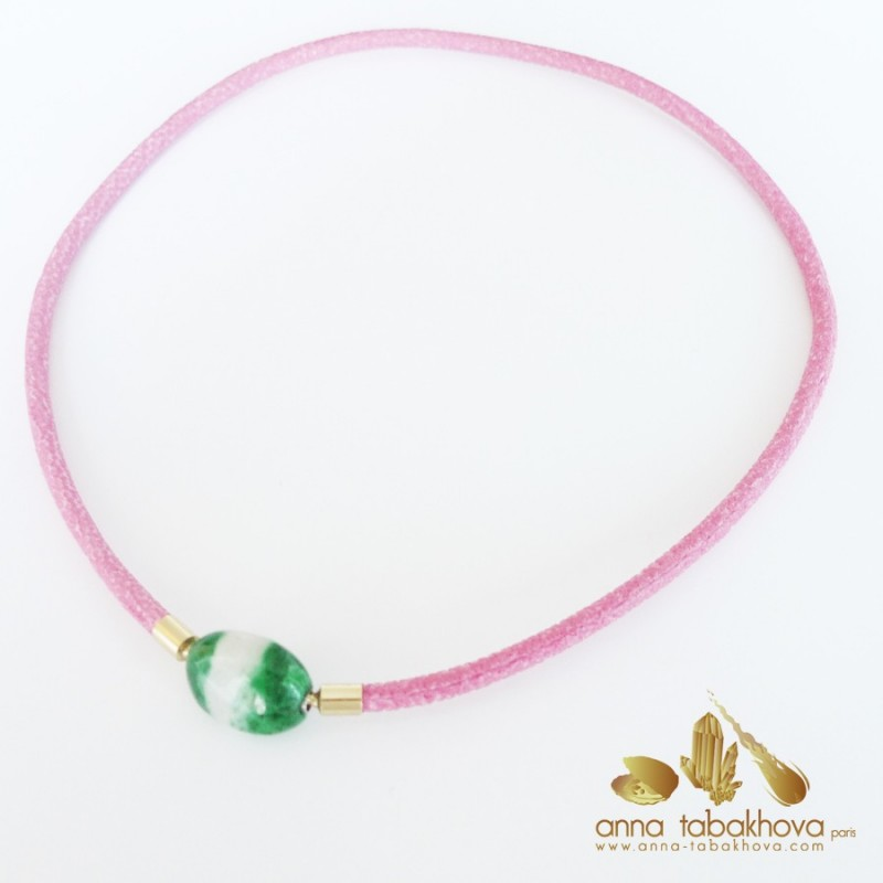 4 mm FUSHIA Stingray InterChangeable Necklace with a jade pebble clasp (sold separatly)