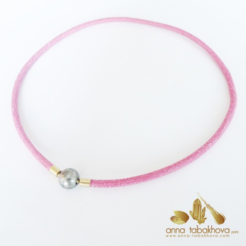 4 mm FUSHIA Stingray InterChangeable Necklace with a Tahiti pearl clasp (sold separatly)