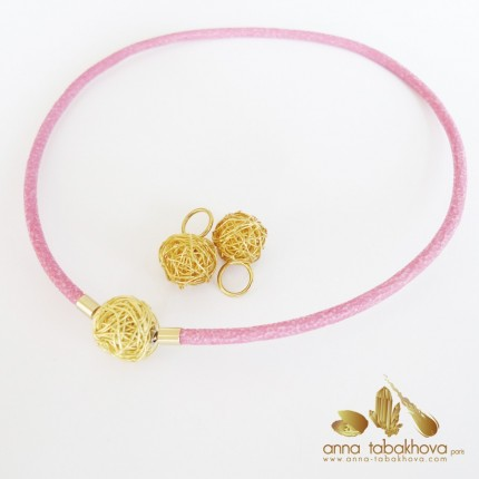 4 mm FUSHIA Stingray InterChangeable Necklace with a wired silver gold plated clasp (sold separatly)