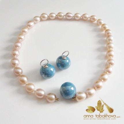 18 mm Blue Ceramic InterChangeable Clasp with pink pearls and matched earrings (sold separatly)