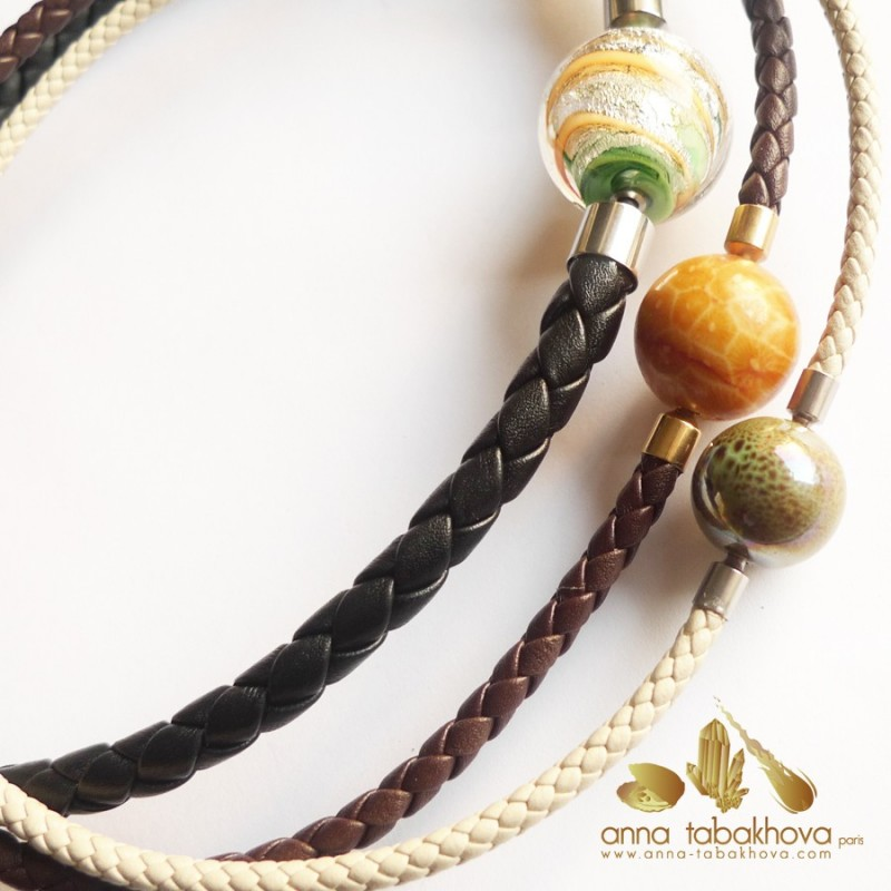 4 mm Braided Leather Necklace compared to 5 and 8 mm (sold separatly)