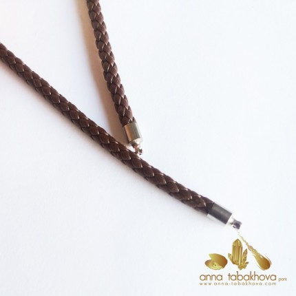 4 mm Braided Leather InterChangeable Necklace in brown