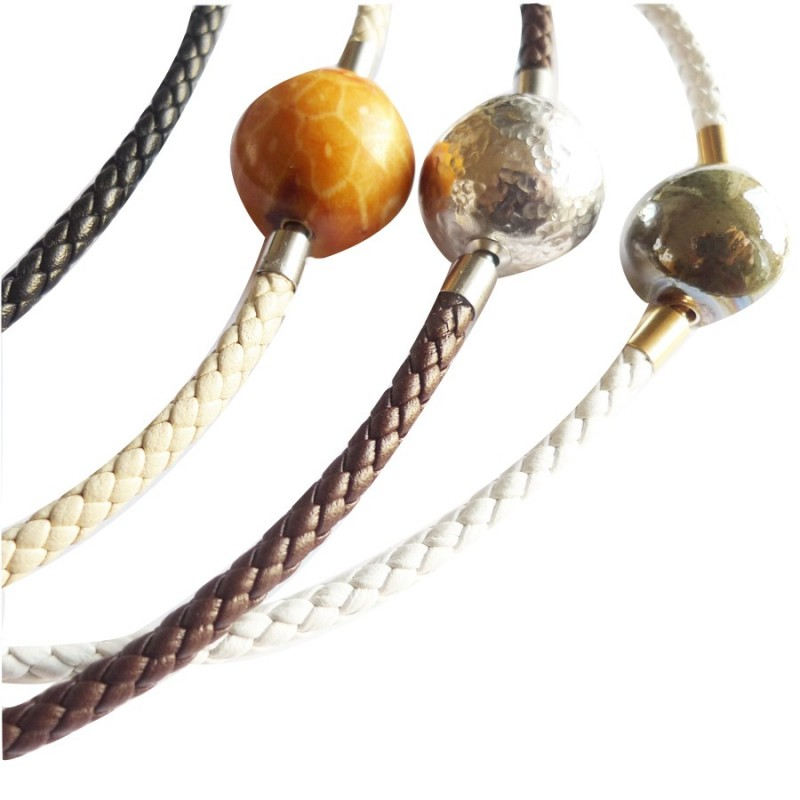 4 mm Braided Leather InterChangeable Necklace, close-up of different colors (sold separatly)