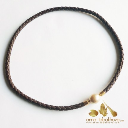 5 mm Braided Leather InterChangeable Necklace with a clasp in a pearl (sold separatly)