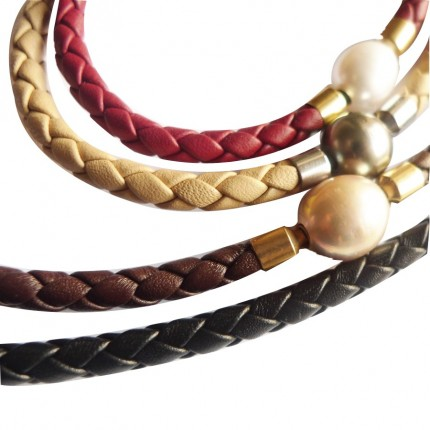 5 mm Braided Leather InterChangeable Necklace, close-up of different colors (sold separatly)