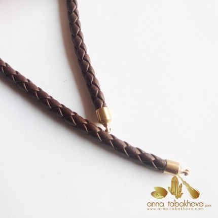 5 mm Braided Leather InterChangeable Necklace, in brown