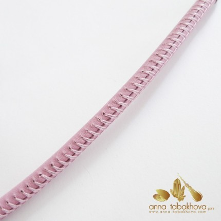 5 mm STITCHED Leather InterChangeable Necklace, close-up stitching in pink