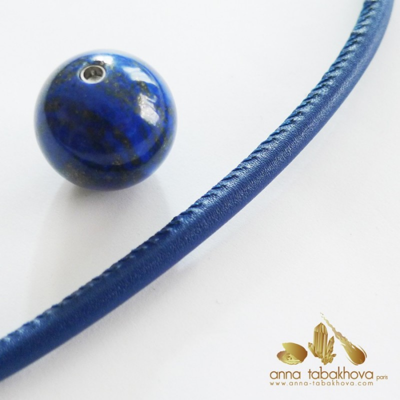 5 mm STITCHED Leather InterChangeable Necklace, close-up in blue