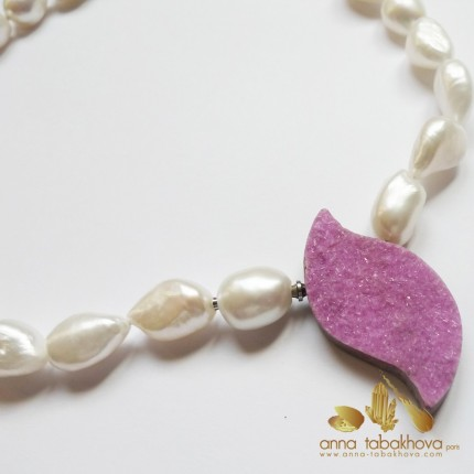 Cobalto-Calcite InterChangeable Clasp with a baroque pearl necklace (sold separatly)