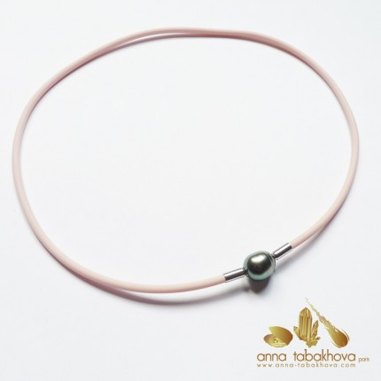 3 mm PINK Rubber InterChangeable Necklace matched with a Tahiti pearl-clasp (sold separatly)