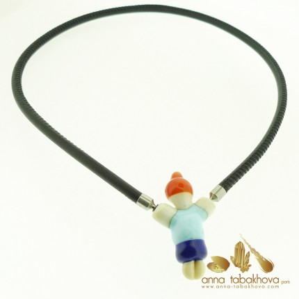 Fancy Child Murano Clasp with a stitched leather necklace (sold separatly)