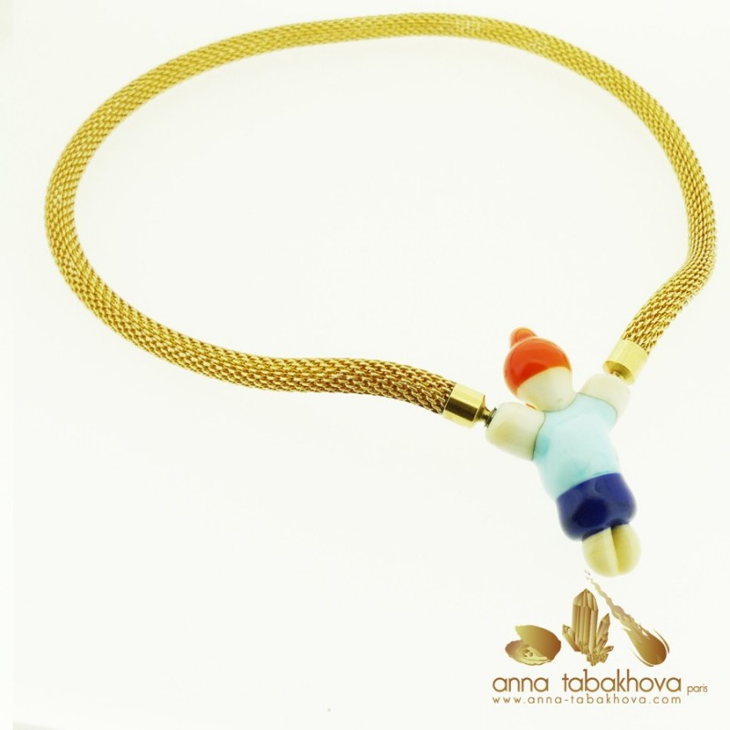 Fancy Child Murano Clasp with a gold plated mesh necklace (sold separatly)