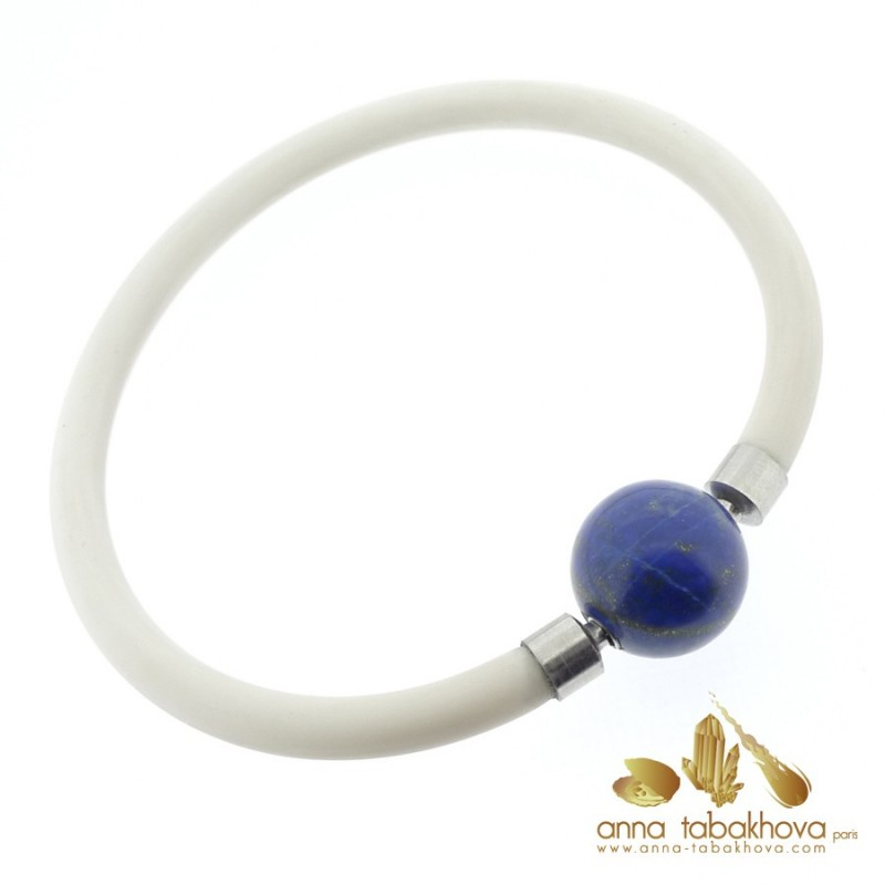 Lapis-Lazuli InterChangeable clasp with a white rubber bracelet (sold separatly)