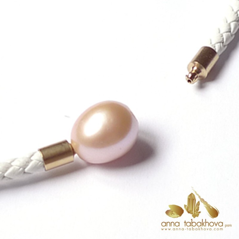 12 mm PINK Pearl Clasp with a white braided leather necklace (sold separatly)