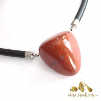 Red Jasper InterChangeable Clasp with a black braided leather necklace (sold separatly)