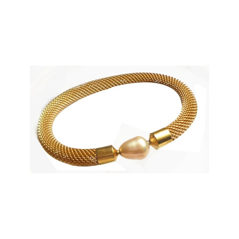 8 mm GOLD PLATED  Steel Mesh InterChangeable Bracelet