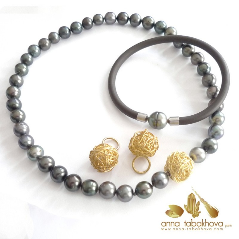 BLACK TAHITI pearl necklace (wired clasp, bracelet and earrings sold separtly)