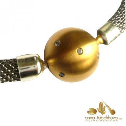 18 mm Frosted Gold Plated Steel Clasp with Zirconia