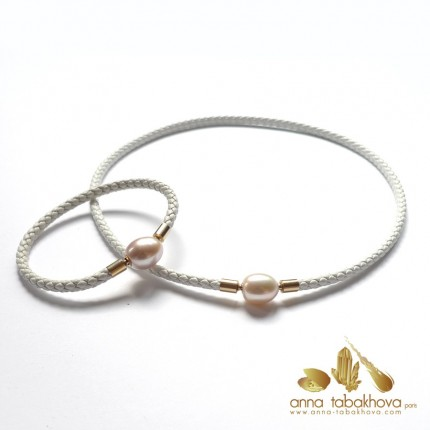4 mm Braided Leather InterChangeable BRACELET with matched necklace (sold separatly) .