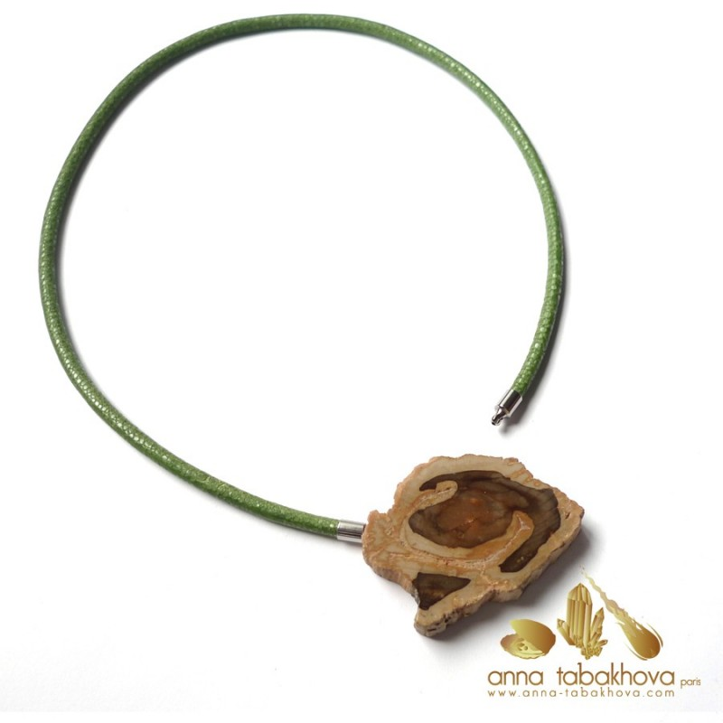 Fossilized wood InterChangeable Clasp matched with a green stingray necklace (sold separatly) .