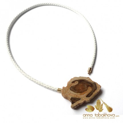Fossilized wood InterChangeable Clasp matched with a white braided leather necklace (sold separatly) .