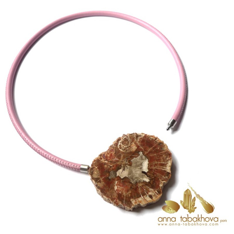 Fossilized wood InterChangeable Clasp matched with a pink stitched leather necklace (sold separatly) .