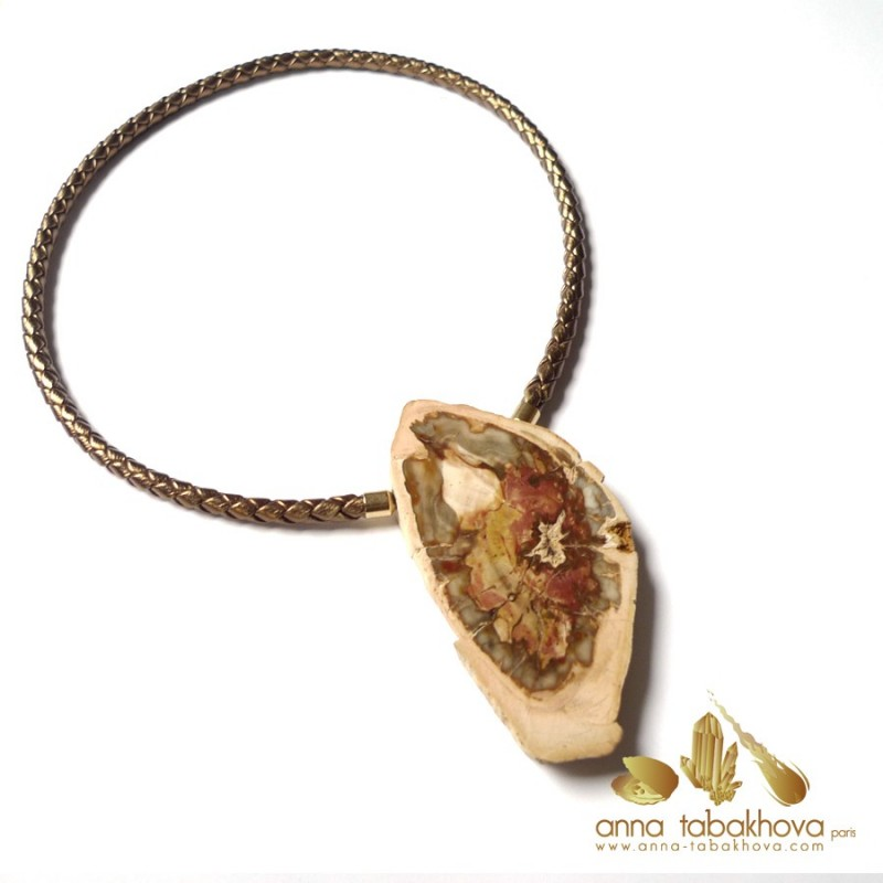 Fossilized wood InterChangeable Clasp matched with a golden braided leather necklace (sold separatly) .