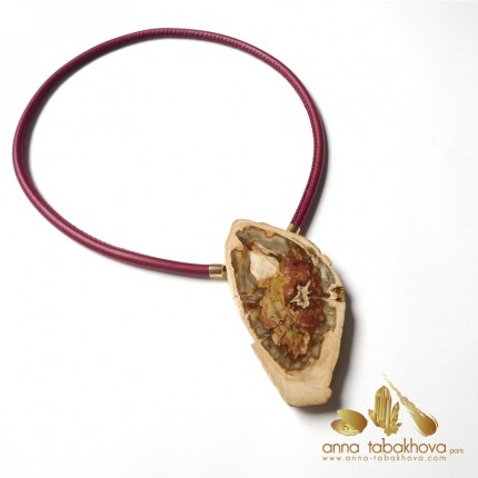 Fossilized wood InterChangeable Clasp matched with a red stitched leather necklace (sold separatly) .