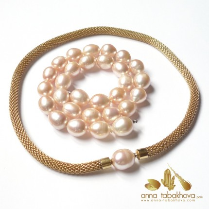 PINK Olive Pearl InterChangeable Necklace with a mesh chain  (sold separatly) .