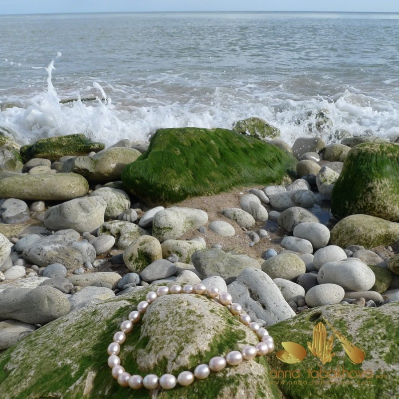 PINK Olive Pearl InterChangeable Necklace under natural light