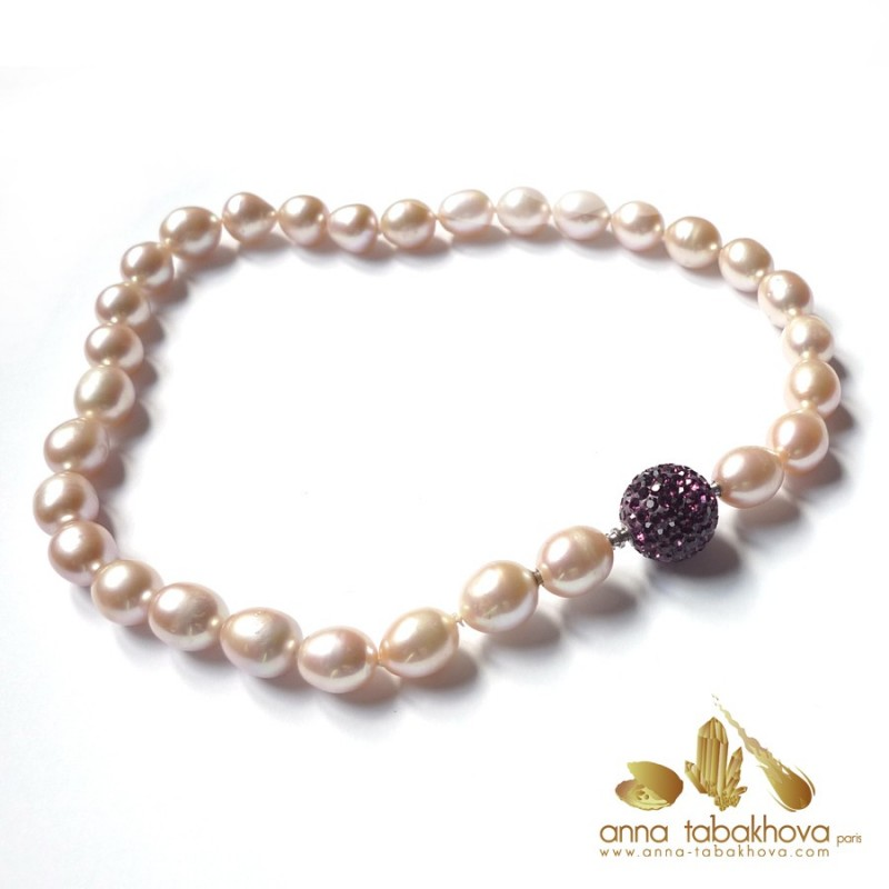 PINK Olive Pearl InterChangeable Necklace with a crystal clasp (sold separatly) .
