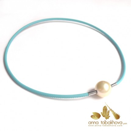 3 mm STITCHED Leather InterChangeable Necklace TURQUOISE (pearl-clasp sold separatly) .