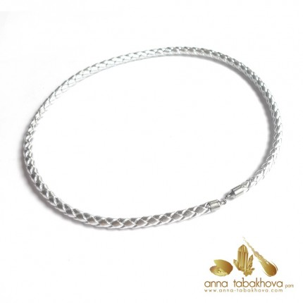 5 mm Braided SILVER Leather InterChangeable Necklace