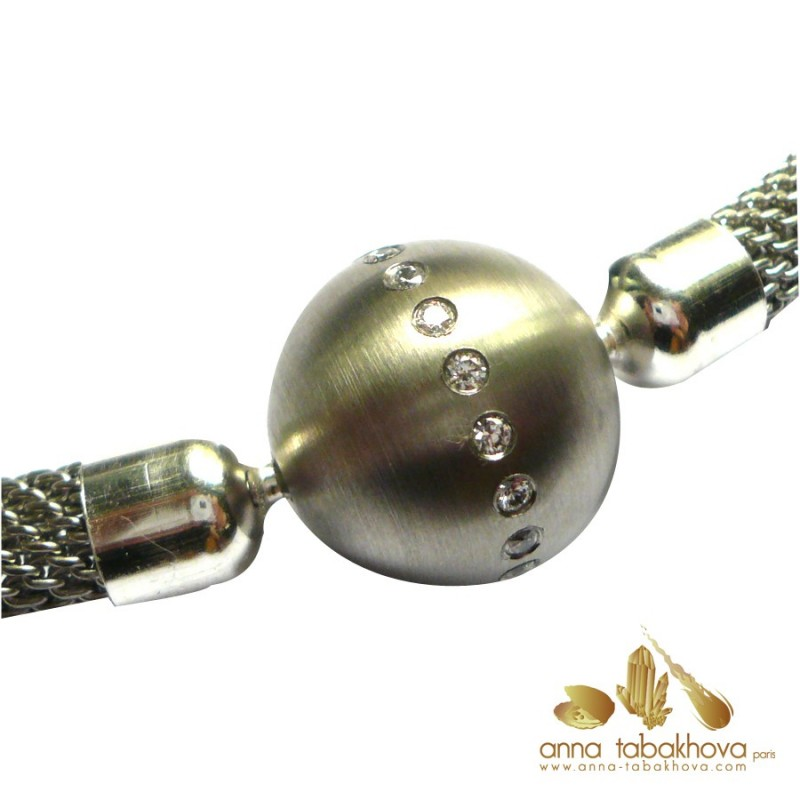 18 mm Frosted Steel Clasp centered with Zirconia