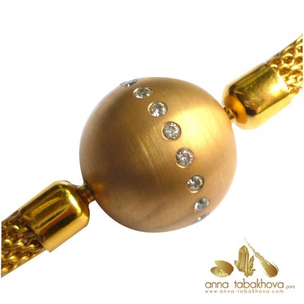 18 mm Frosted Gold Plated Steel Clasp centered with Zirconia