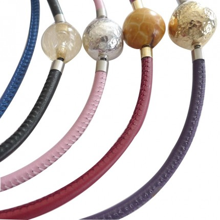 5 mm STITCHED Leather InterChangeable Necklace in different available colors (choose one bracelet for sale)