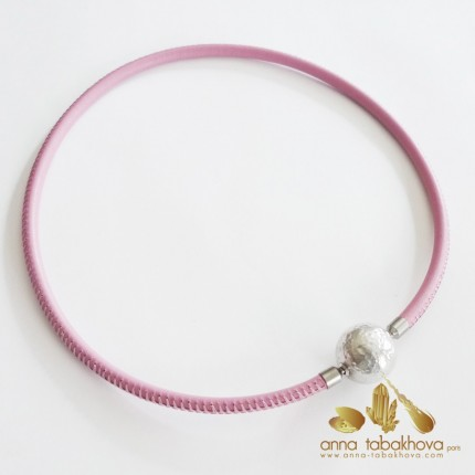 5 mm STITCHED PINK Leather InterChangeable Necklace matched to bracelet (sold separatly)