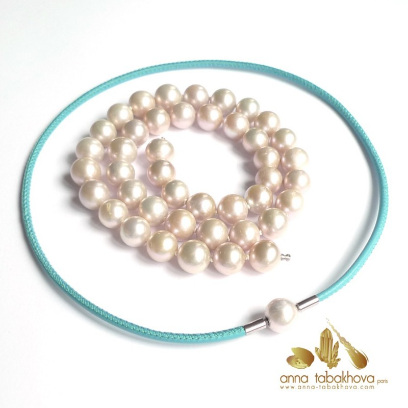 Silvery Golden lavender PINK Pearl InterChangeable Necklace with clasp (leather necklace sold separatly) .