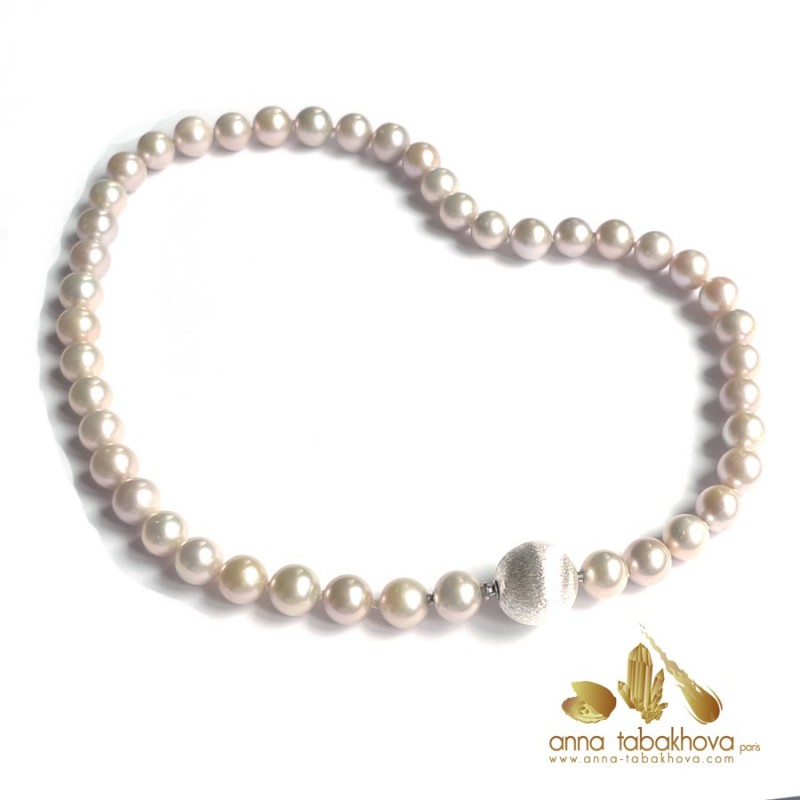 Silvery Golden lavender PINK Pearl InterChangeable Necklace with clasp (silver clasp sold separatly) .