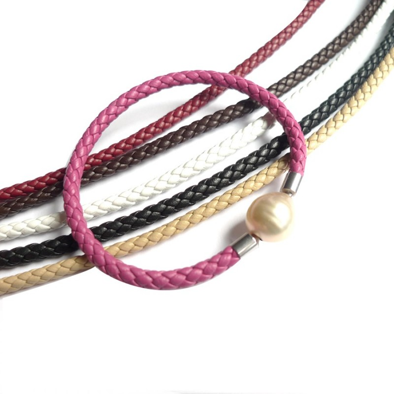 4 mm Braided Leather InterChangeable BRACELET, all colors, one for sale