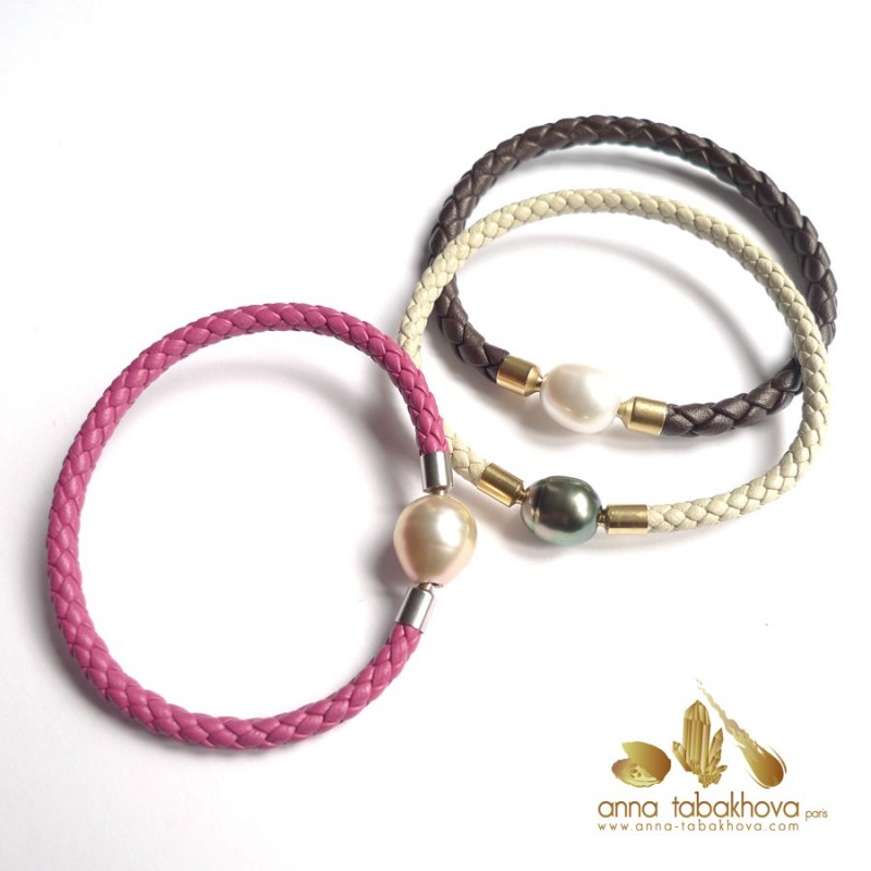 4 mm Braided Leather InterChangeable BRACELET, different colors, one for sale