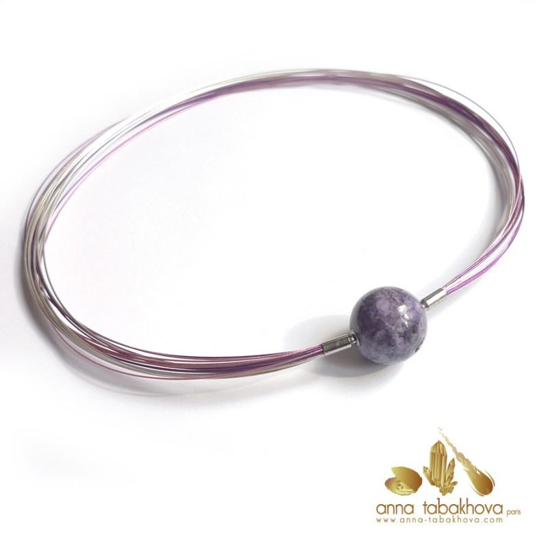 Purple SUGILITE bead as InterChangeable Clasp with a multi wired necklace (sold separatly) .