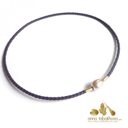 3 mm Braided Leather InterChangeable Necklace, in purple matched with a pearl clasp (sold separtly) .