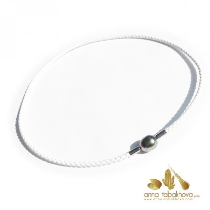 3 mm Braided Leather InterChangeable Necklace in white, matched with a pearl clasp (sold separatly) .